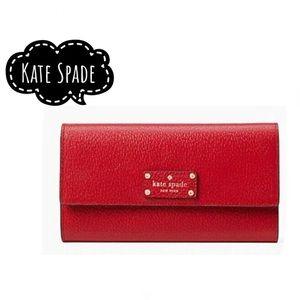 New Kate Spade hot red folded envelope wallet